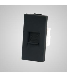 Moduł 1/2, gniazdo telefoniczne RJ11, czarne  - Touchme