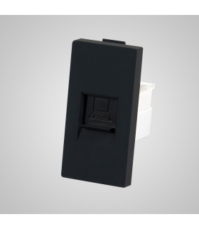 Moduł 1/2, gniazdo komputerowe RJ45, czarne  - Touchme
