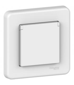 Leona Gniazdo 2P+PE z przesłonami i klapką schuko, biały Schneider LNA3100221
