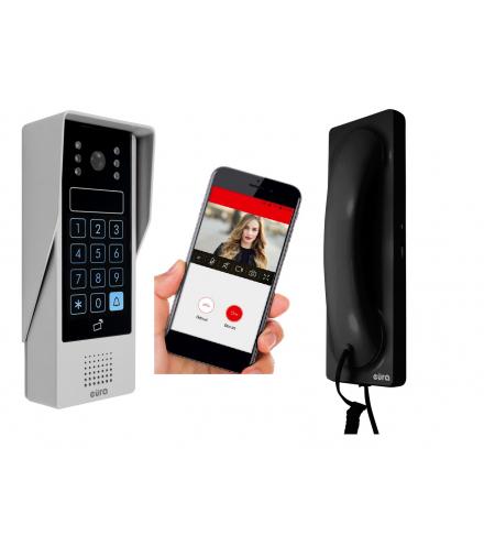 Wideodomofon WiFi, CZARNA słuchawka, dotykowy szyfrator, czytnik zbliżeniowy