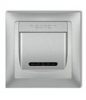 DECO Łącznik hotelowy z ramka uniwersalna pojedyncza z tworzywa DECO Soft Srebrny metalik Karlik 7DSHSO-1