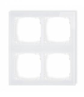 DECO Ramka modułowa 4 krotna (2 poziom 2 pion) - efekt szkła (ramka biała spód biała) Biały Karlik 0-0-DRSM-2x2