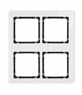DECO Ramka modułowa 4 krotna (2 poziom 2 pion) - efekt szkła (ramka biała spód czarny) Biały Karlik 0-12-DRSM-2x2