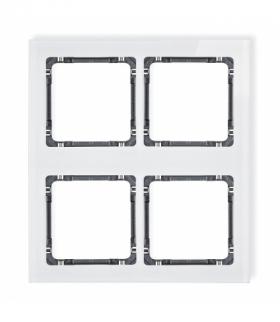 DECO Ramka modułowa 4 krotna (2 poziom 2 pion) - efekt szkła (ramka biała spód grafitowy) Biały Karlik 0-11-DRSM-2x2