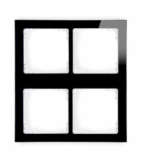 DECO Ramka modułowa 4 krotna (2 poziom 2 pion) - efekt szkła (ramka czarna spód biała) Czarny Karlik 12-0-DRSM-2x2
