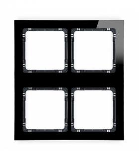 DECO Ramka modułowa 4 krotna (2 poziom 2 pion) - efekt szkła (ramka czarna spód czarny) Czarny Karlik 12-12-DRSM-2x2