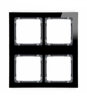 DECO Ramka modułowa 4 krotna (2 poziom 2 pion) - efekt szkła (ramka czarna spód grafitowy) Czarny Karlik 12-11-DRSM-2x2