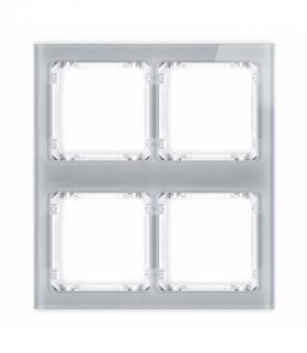 DECO Ramka modułowa 4 krotna (2 poziom 2 pion) - efekt szkła (ramka szara spód biała) Szary Karlik 15-0-DRSM-2x2