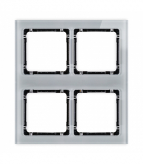 DECO Ramka modułowa 4 krotna (2 poziom 2 pion) - efekt szkła (ramka szara spód czarny) Szary Karlik 15-12-DRSM-2x2