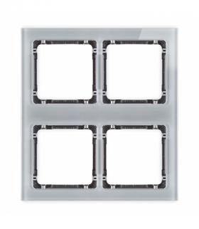 DECO Ramka modułowa 4 krotna (2 poziom 2 pion) - efekt szkła (ramka szara spód grafitowy) Szary Karlik 15-11-DRSM-2x2