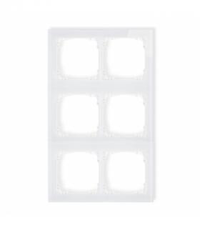 DECO Ramka modułowa 6 krotna (2 poziom 3 pion) - efekt szkła (ramka biała spód biała) Biały Karlik 0-0-DRSM-2x3