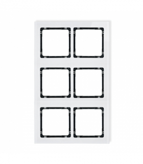 DECO Ramka modułowa 6 krotna (2 poziom 3 pion) - efekt szkła (ramka biała spód czarny) Biały Karlik 0-12-DRSM-2x3