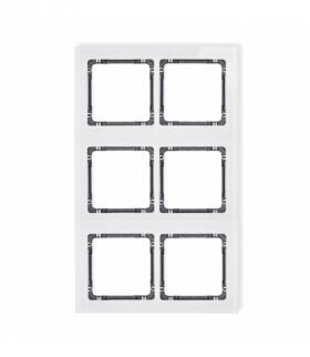 DECO Ramka modułowa 6 krotna (2 poziom 3 pion) - efekt szkła (ramka biała spód grafitowy) Biały Karlik 0-11-DRSM-2x3
