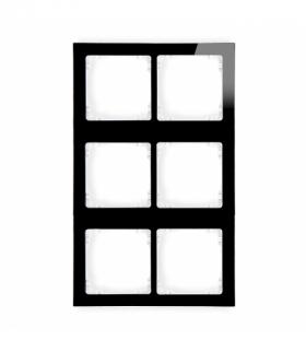 DECO Ramka modułowa 6 krotna (2 poziom 3 pion) - efekt szkła (ramka czarna spód biała) Czarny Karlik 12-0-DRSM-2x3