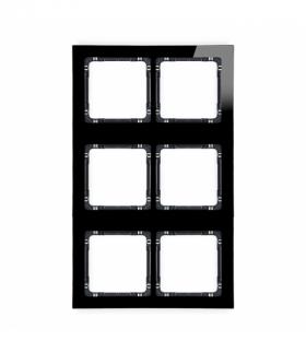 DECO Ramka modułowa 6 krotna (2 poziom 3 pion) - efekt szkła (ramka czarna spód czarny) Czarny Karlik 12-12-DRSM-2x3
