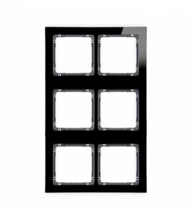 DECO Ramka modułowa 6 krotna (2 poziom 3 pion) - efekt szkła (ramka czarna spód grafitowy) Czarny Karlik 12-11-DRSM-2x3