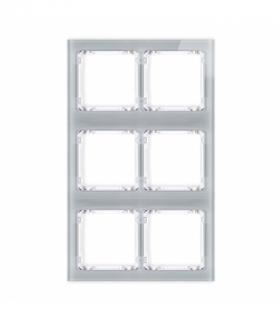 DECO Ramka modułowa 6 krotna (2 poziom 3 pion) - efekt szkła (ramka szara spód biała) Szary Karlik 15-0-DRSM-2x3