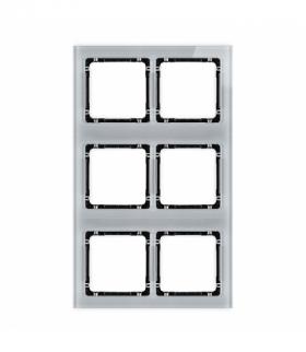 DECO Ramka modułowa 6 krotna (2 poziom 3 pion) - efekt szkła (ramka szara spód czarny) Szary Karlik 15-12-DRSM-2x3