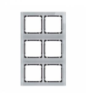 DECO Ramka modułowa 6 krotna (2 poziom 3 pion) - efekt szkła (ramka szara spód grafitowy) Szary Karlik 15-11-DRSM-2x3