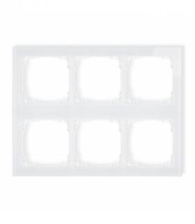 DECO Ramka modułowa 6 krotna (3 poziom 2 pion) - efekt szkła (ramka biała spód biała) Biały Karlik 0-0-DRSM-3x2