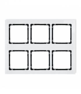 DECO Ramka modułowa 6 krotna (3 poziom 2 pion) - efekt szkła (ramka biała spód czarny) Biały Karlik 0-12-DRSM-3x2