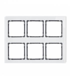 DECO Ramka modułowa 6 krotna (3 poziom 2 pion) - efekt szkła (ramka biała spód grafitowy) Biały Karlik 0-11-DRSM-3x2