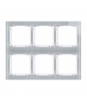 DECO Ramka modułowa 6 krotna (3 poziom 2 pion) - efekt szkła (ramka szara spód biała) Szary Karlik 15-0-DRSM-3x2
