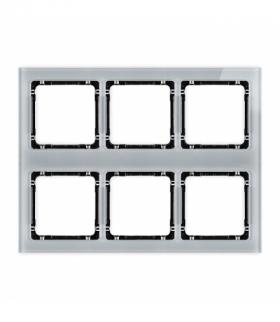 DECO Ramka modułowa 6 krotna (3 poziom 2 pion) - efekt szkła (ramka szara spód czarny) Szary Karlik 15-12-DRSM-3x2