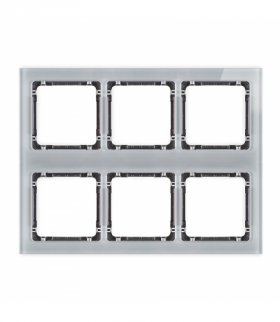 DECO Ramka modułowa 6 krotna (3 poziom 2 pion) - efekt szkła (ramka szara spód grafitowy) Szary Karlik 15-11-DRSM-3x2