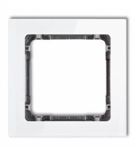 DECO Ramka modułowa niestandardowa (1 moduł) - efekt szkła (ramka biała spód grafitowy) Biały Karlik 0-11-DRSMN-1
