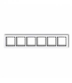 DECO Ramka uniwersalna sześciokrotna- efekt szkła (ramka biała spód grafitowy) Biały Karlik 0-11-DRS-6