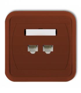 LIZA Gniazdo komputerowe podwójne 2xRJ45 kat. 6 8-stykowe Brązowy Karlik 4GLK-4