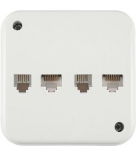 LIZA Gniazdo natynkowe telefoniczne podwójne 2xRJ11 4-stykowe + gniazdo komputerowe podwójne 2xRJ45 kat. 5e 8-stykowe Biały Karl