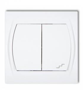 LOGO Łącznik jednobiegunowy ze schodowym podświetlany (wspólne zasilanie) Biały Karlik LWP-10L.1