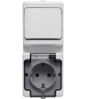 Zestaw pionowy: łącznik pojedynczy biały IP44 + gniazdo pojedyncze IP 44, typu Schuko białe, klapka dymna Seria BRYZA, BIAŁY 181