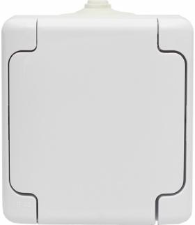 Gniazdo pojedyncze IP 44 klapka biała, typu Schuko. Seria BRYZA, BIAŁY 180441