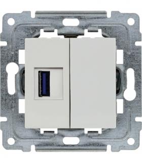 Ładowarka USB pojedyncza Seria DANTE, BIAŁY 450455