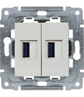 Ładowarka USB podwójna Seria DANTE, BIAŁY 450457