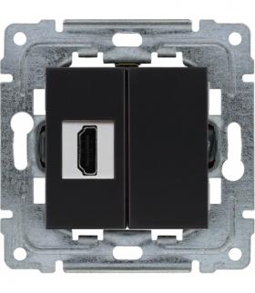 Gniazdo multimedialne HDMI, bez ramki Seria DANTE, CZARNY 450950