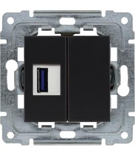 Ładowarka USB pojedyncza Seria DANTE, CZARNY mat. 450955