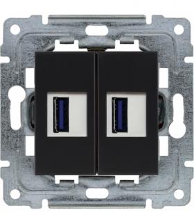 Ładowarka USB podwójna Seria DANTE, CZARNY mat. 450957