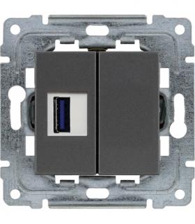 Gniazdo multimedialne USB, bez ramki Seria DANTE, GRAFIT 456051