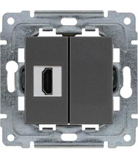 Gniazdo multimedialne HDMI, bez ramki Seria DANTE, GRAFIT 456050