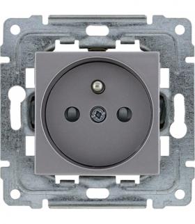 Gniazdo poj. z uziemieniem, z przesłoną torów prądowych, bez ramki, Seria DANTE, INOX 454134