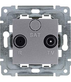 Gniazdo antenowe RTV przelotowe, bez ramki, Seria DANTE, INOX 454174