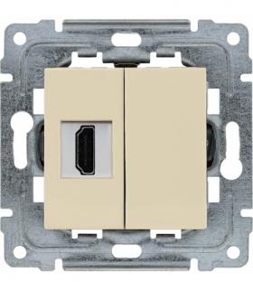 Gniazdo multimedialne HDMI, bez ramki Seria DANTE, KREM 450350