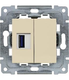 Gniazdo multimedialne USB, bez ramki Seria DANTE, KREM 450351