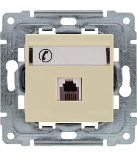 Gniazdo telefoniczne pojedyncze, z etykietą, bez ramki Seria DANTE, KREM 450363