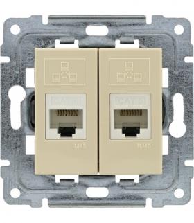 Gniazdo komputerowe podwójne 2xRJ45, bez ramki, Seria DANTE, KREM 450367