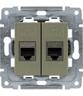 Gniazdo komputerowe podwójne 2xRJ45, bez ramki, Seria DANTE, SATYNA 455068